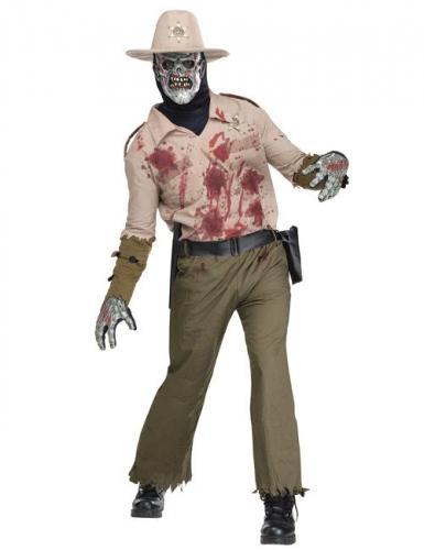 Zombie Sheriff Halloween-Kostüm beige-grün