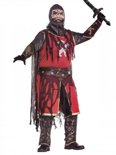 Zombie Kreuzritter Halloween-Kostüm rot-schwarz