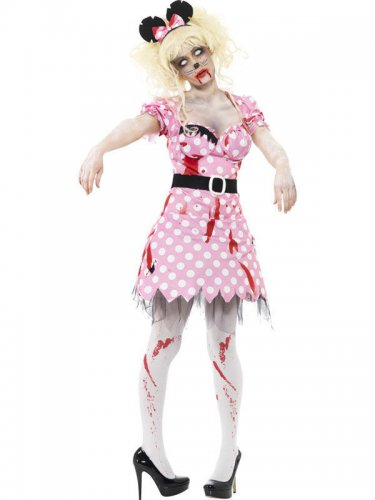 50er Zombie Rockabella Halloween Damenkostüm rosa-weiss