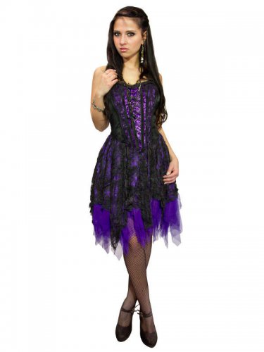 Gothic kleid schwarz lila