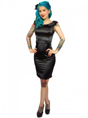 50er Rockabilly-Kleid Satin schwarz