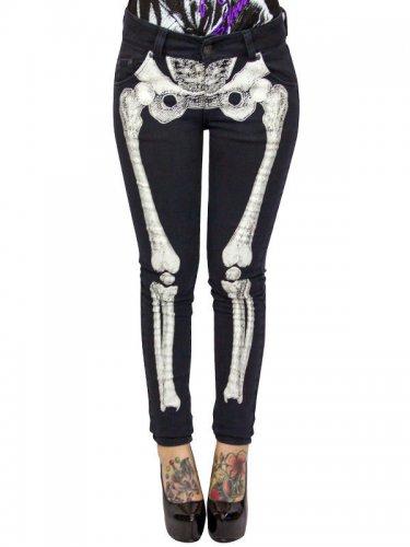 Kreepsville Gothic-Jeans Skelett-Print schwarz-weiss