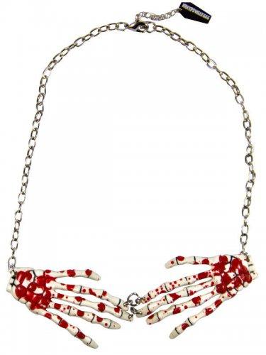 Kreepsville Gothic Halskette Skeletthände weiss-rot