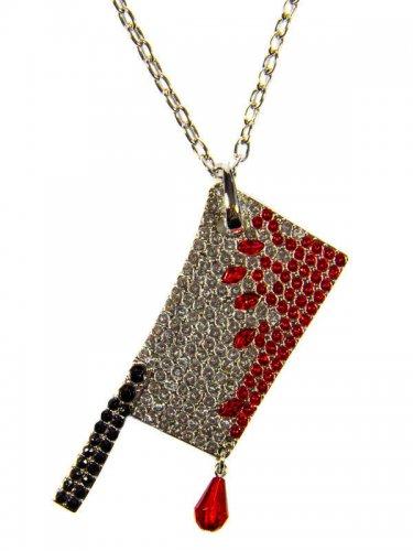 Gothic-Halskette Hackbeil silber-rot