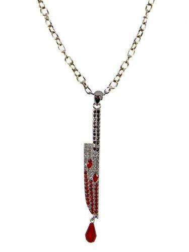 Kreepsville Gothic Halskette Messer silber-rot