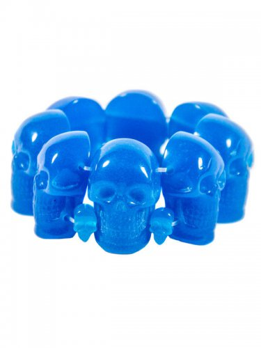 Kreepsville Gothic Armreif Totenkopf blau