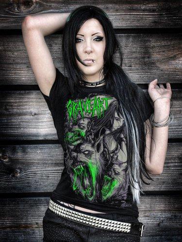 GraveArt Wolves Girlie Shirt schwarz