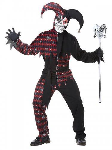 Böser Clown-Kostüm für Herren Harlekin Halloween-Kostüm schwarz-rot
