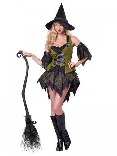 Bezaubernde Hexe Zauberin Magierin Damenkostüm schwarz-grün