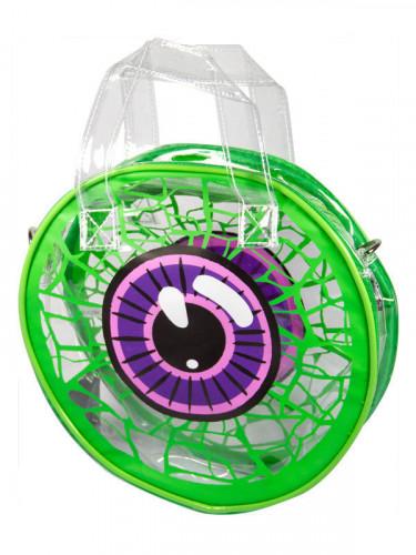 Kreepsville Handtasche mit Auge Accessoire weiss-grün-lila