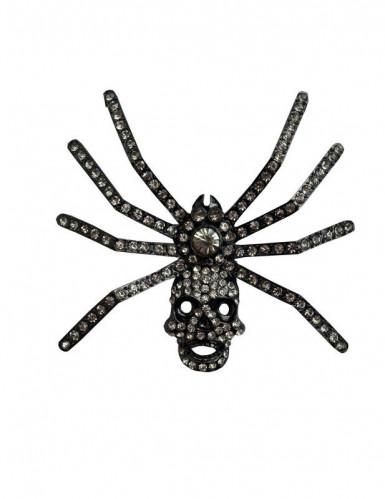 Spinnen-Brosche Kreepsville Skull-Spinne silber