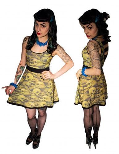 Kreepsville Gothic Mini-Kleid Skulls beige-schwarz