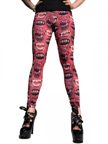Kreepsville Gothic Leggings Monsterzähne rot-schwarz