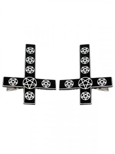 Kreepsville Gothic Haarklammer-Set Kreuz Pentagramm schwarz