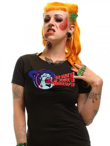 Kreepsville Gothic Girlie Shirt Wax Your Werewolf schwarz