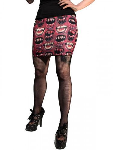 Kreepsville Gothic Mini-Rock Monsterzähne rot-schwarz