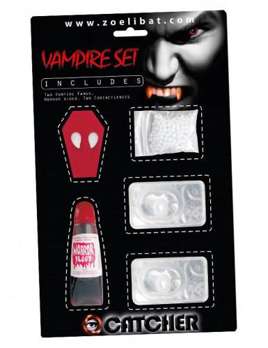 Vampirzähne Set mit Kunstblut und Kontaktlinsen weiss 3-teilig