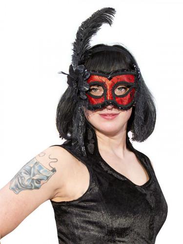 Venezianische Maske mit Spitze und Feder rot-schwarz
