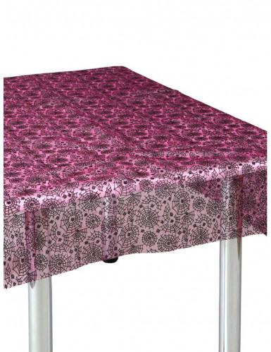 Spinnennetz Tischdecke Halloween-Party-Deko pink-schwarz 147x147cm