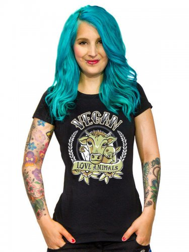 Vegan Girlie Shirt - Vegan Love Animals schwarz-bunt