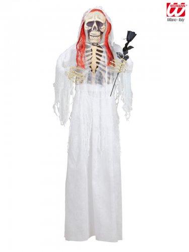 Skelett-Braut Halloween-Hängedeko weiss-schwarz 153cm