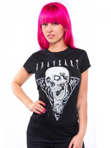 GraveArt Let 'Em Rot Girlie-Shirt schwarz-weiss
