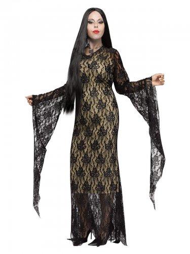 Spitzen Gothic-Damenkostüm in Übergrössen schwarz