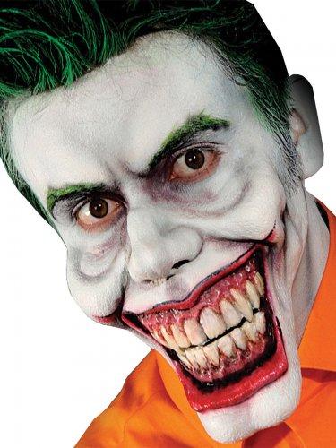 Horror-Clown Halloween-Latexapplikation weiss-beige-rot