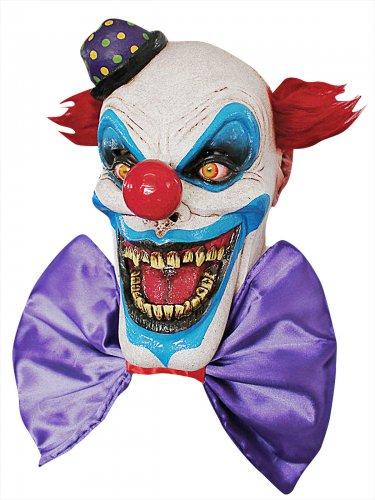 Clown-Zombie Halloween Latex-Maske Zirkus blau-weiss-rot