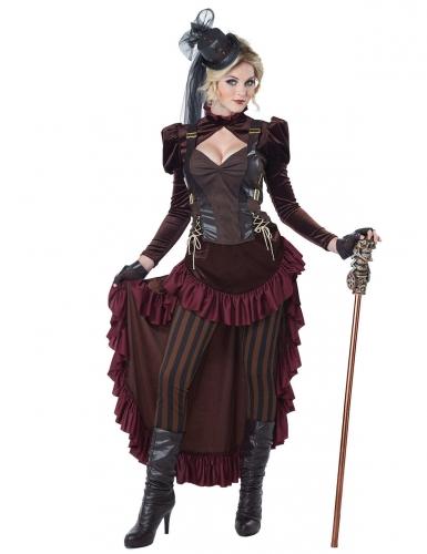 Viktorianisches Steampunk Damenkostüm braun-bordeaux
