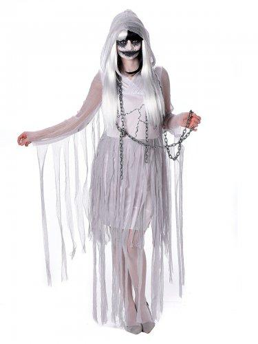 Gruselige Geisterfrau Halloween-Damenkostüm Gespenst grau-weiss