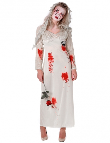 Zombie-Braut Halloween-Damenkostüm Geist weiss-rot-schwarz
