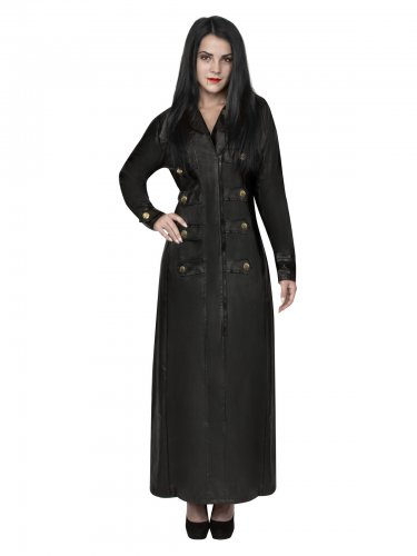 Gothic-Vampirin Mantel in Lederoptik schwarz