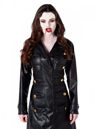 Gothic-Vampirin Mantel in Lederoptik schwarz-1