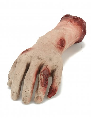 Abgehackte Leichen-Hand Halloween-Deko beige-rot 26x10x5 cm