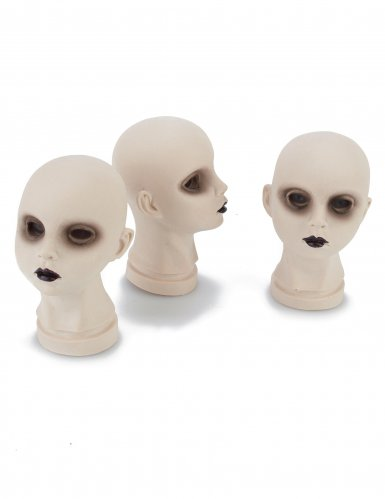 Schaurige Puppen-Köpfe Halloween-Deko 3 Stück weiss 11x9x14cm