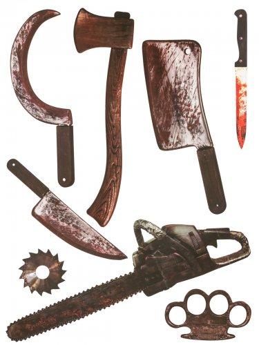 Schauriges Schlachter Waffen-Set 8-teilig Halloween-Wanddeko grau-braun 75x70cm