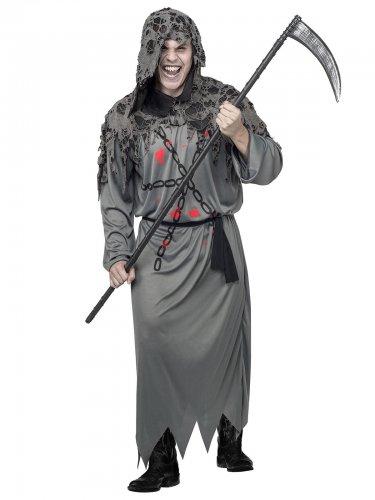 Schauriger Ghoul Halloweenkostüm Dämon grau-schwarz
