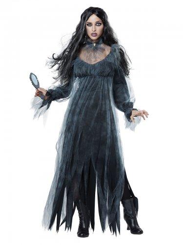Bloody Mary Geisterfrau Halloween-Damenkostüm grau-schwarz