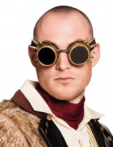 Steampunkbrille mit Stacheln für Erwachsene schwarz-bronze
