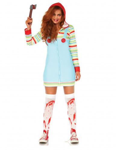 Mörderpuppe-Horrorkostüm Halloween-Damenkostüm bunt