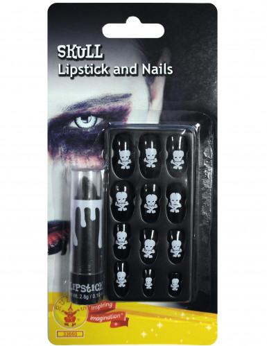 Halloween-Set 11-teilig mit Lippenstift und Fingernägel schwarz-weiss