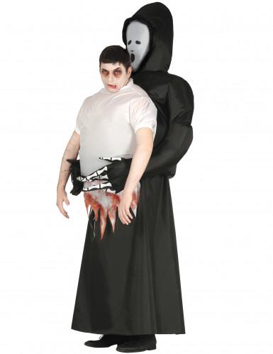 Huckepack Sensenmann-Kostüm schwarz-weiss