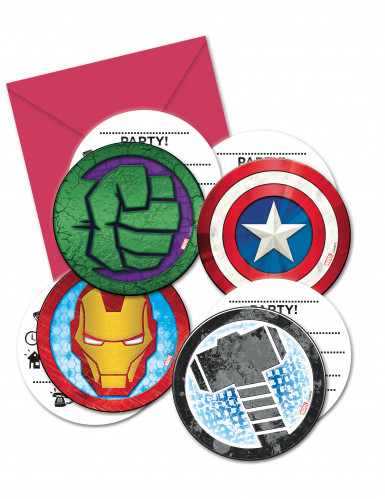 Avengers™-Einladungen 6 Stück bunt