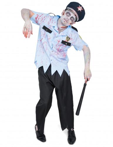 Zombie-Polizist Halloween Kostüm für Herren blau-schwarz-gold