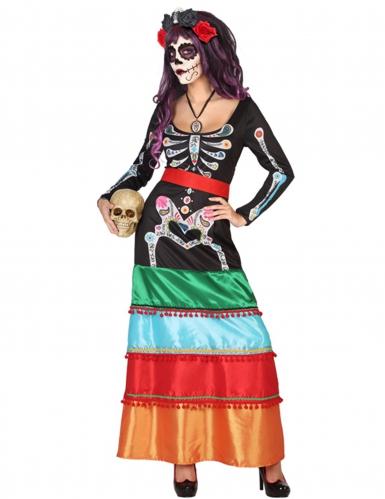 Dia de los Muertos Skelett-Tänzerin Halloween Kostüm für Damen bunt