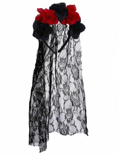 Tag der Toten Halloween-Haarreif mit Blüten und Schleier schwarz-ro