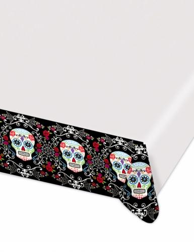 Dia de los Muertos Halloween-Tischdecke weiss-bunt 140 x 260cm
