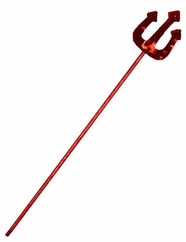 Teuflischer Dreizack mit Pailletten Halloween-Accessoire rot 40cm