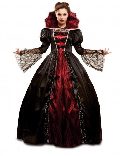Barockes Vampir-Damenkostüm schwarz-rot